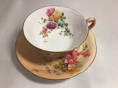 Royal Worcester Teacup And Saucer Blush Ivory