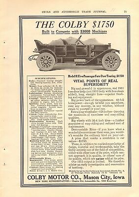 1911 Colby Touring   Vintage Original Ad