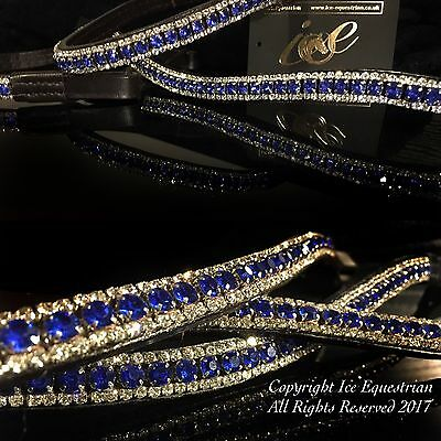 Bling Browband Mega Sparkly Blue & Clear 3 Rows