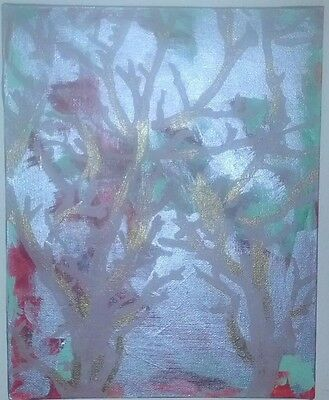 Original Acrylic on Canvas Painting Abstract Trees - Painted by Azure
