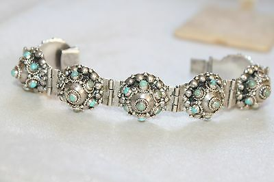 45g VINTAGE Old Mexico STERLING Silver CANNETILLE Turquoise Panel Bracelet