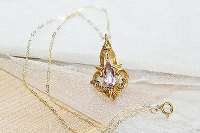 Victorian 14k Gold Filled PINK TOPAZ Scroll Repousse Pendant Necklace