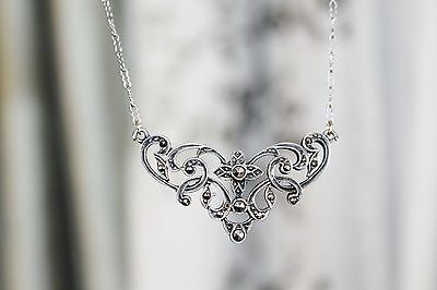 ART DECO Vintage STERLING SILVER Marcasite PAPERCLIP Chain NECKLACE