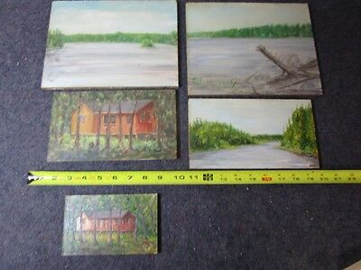 lot of 5 small original oil paintings on wood board landscapes cabin in the wood