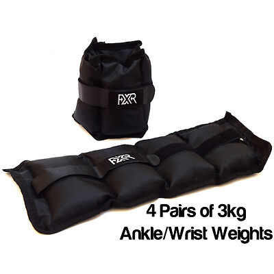 4 Pairs Of 3Kg Fxr Sports Wrist Ankle Weights Resistance Strength Training Gym