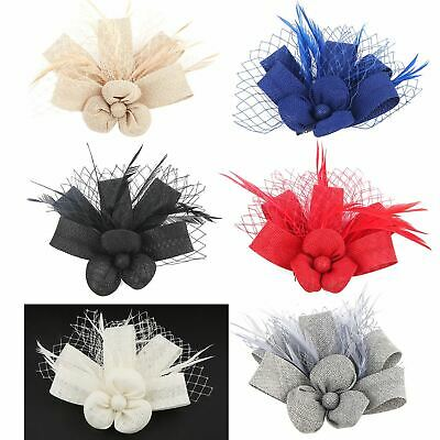 New Flower Hair Clip Feather Small Top Hat Clip On Fascinator Ascot Race Party