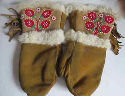 Native North American handmade gorgeous beaded leather vintage adult mitts