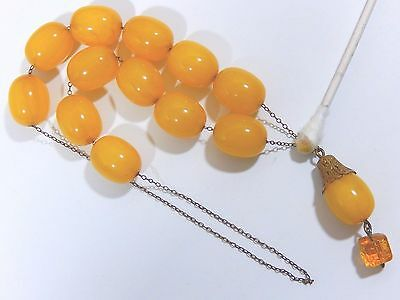 Old Ottoman Faturan Amber Bakelite Komboloi Prayer Beads Carved Andalusite Drop