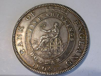1804 GEORGE III, BANK OF ENGLAND DOLLAR, 5 SHILLINGS, BRITISH SILVER COIN aEF