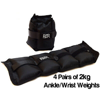 4 Pairs Of 2Kg Fxr Sports Wrist Ankle Weights Resistance Strength Training Gym