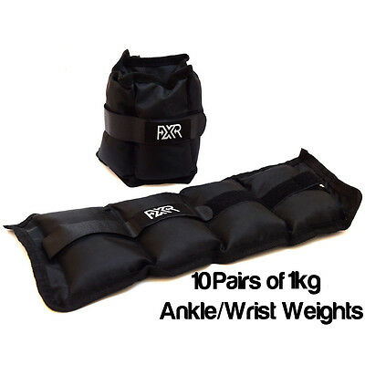 10 Pairs Of 1Kg Fxr Sports Wrist Ankle Weights Resistance Strength Training Gym