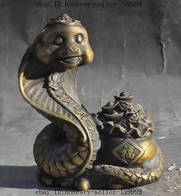 "6"" mark china bronze lucky wealth money coin Treasure bowl Snake Serpent statue"