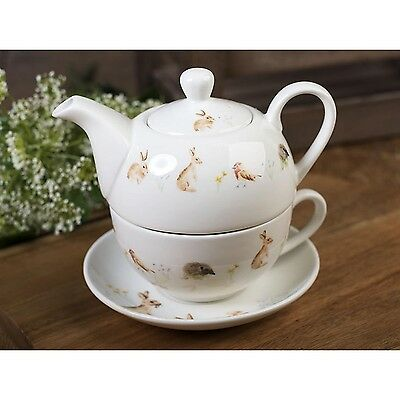 NEW! National Trust New Forest Toile Tea For One Teapot & Cup, Fine China, Beige