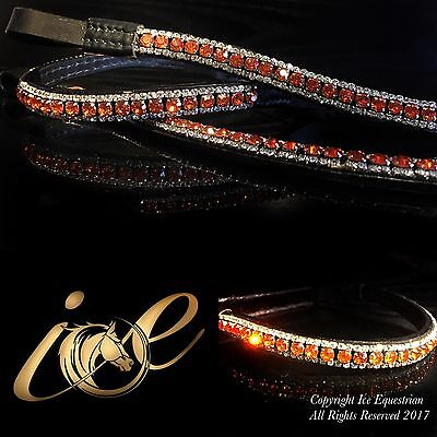 Bling Ice Browband Tangerine & Clear Mega Sparkly New Colour 3 Row