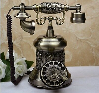 New Antique Carving Home Landline Height 29cm Decoration Corded Dial Phone #