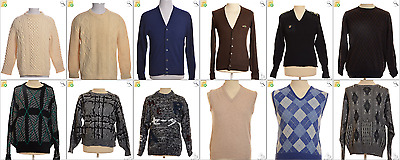 """JOB LOT OF 18 VINTAGE MEN""""S KNITS - Mix of Era's, styles and sizes (17915)*"""