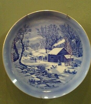 Vintage Currier & Ives A Home in the Wilderness Blue and White Plate Japan