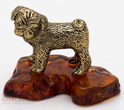 Solid Brass Amber Figurine of Mops or Pug dog IronWork