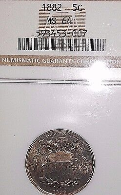 1882 5C Shield Nickel NGC MS64 ~BEAUTIFUL COLOR & DETAILS~