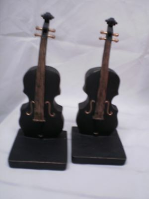 Lovely solid/heavy black & gold cello bookends (SAS1)