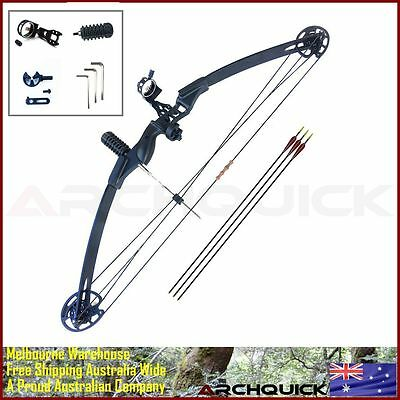 COMPOUND BOW ARCHERY HUNTING Target Arrows Kits Right Hand 30-40lbs Black