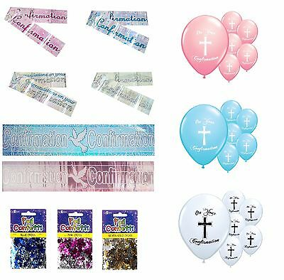 Confirmation Party Decorations Banners Balloons Confetti Pink Blue Silver Gold