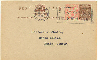 SINGAPORE 1956 2 Cents and 4 Cents Provisional Postal Statiuonery Postcard