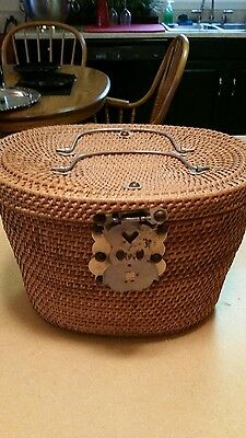 Antique Chinese export round woven basket