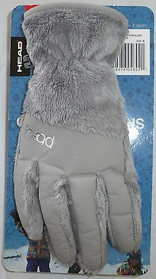 HEAD Jr Kids ThermalFUR Fleece Gloves, Size M, Ages 7-10, Silver, NWT
