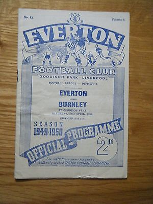 1949 / 1950 EVERTON v BURNLEY FOOTBALL PROGRAMME