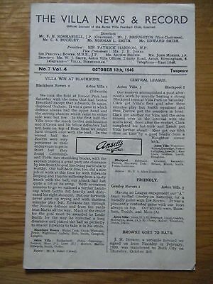 1946 / 1947 ASTON VILLA v PORTSMOUTH FOOTBALL PROGRAMME