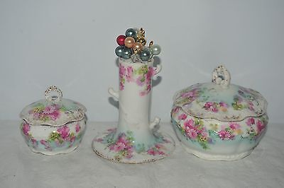 Limoges Pink Green 3x Piece Ceramic Dressing Table Set Hat Pin Containers Lids