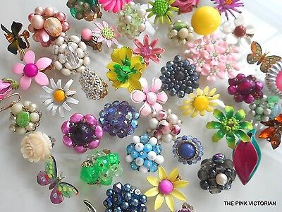 Vintage JEWELRY (50) pc earrings SINGLES signed VARIETY LOT#82 **FREE SHIPPING**