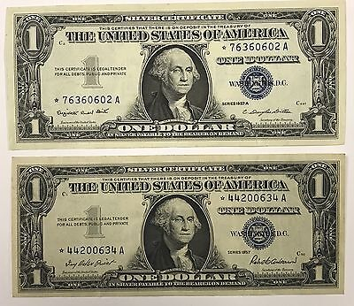 1957 $1 Silver Certificate Star Note Lot Of 2