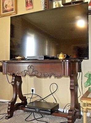 Signature 1800s Carved Mahogany Empire Library Entry, Sofa Table With Drawer