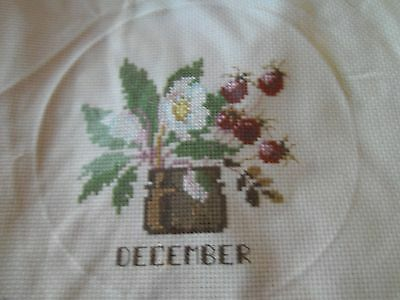 """completed cross stitch """" December """""""