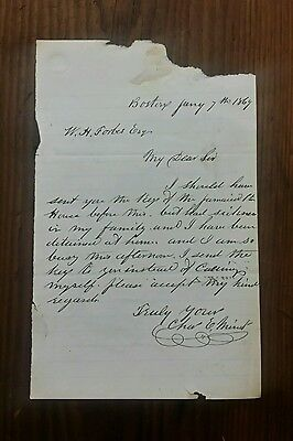 Antique Letter 1869 to a Boston Mass Lawyer W. H. Forbes