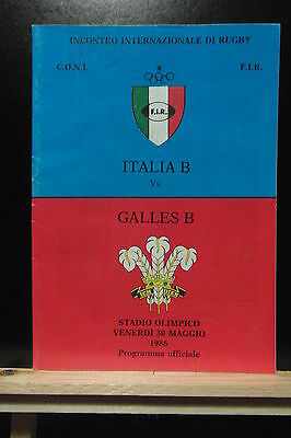 1986 italy B v wales B rugby union programme