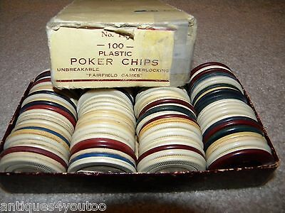 Vintage Plastic Poker Chips, boxed