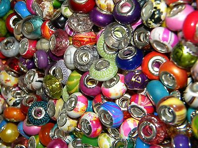 Hot 100/pcs  SPECIAL NEW Charm 925 Silver European Assorted BEADS (FL3)