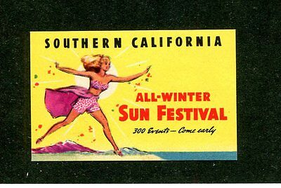 Vintage Poster Stamp Label  SOUTHERN CALIFORNIA ALL WINTER SUN FESTIVAL