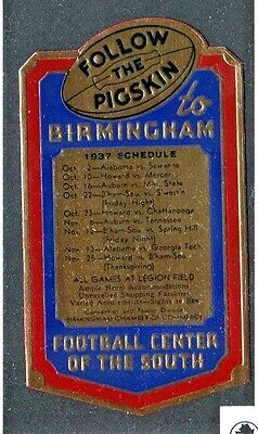 Vintage Poster Stamp Label  1937 BIRMINGHAM FOOTBALL SCHEDULE Follow the Pigskin