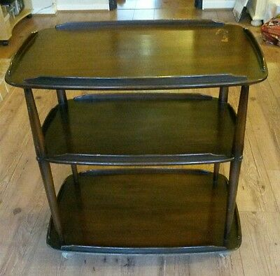 Mid Century Modern Ercol Three Tier Tea Trolley.Hostess,Drinks,Sweets,Catering