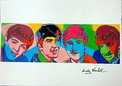 """Andy Warhol - """"The Beatles"""" - Ink and pastel drawing"""