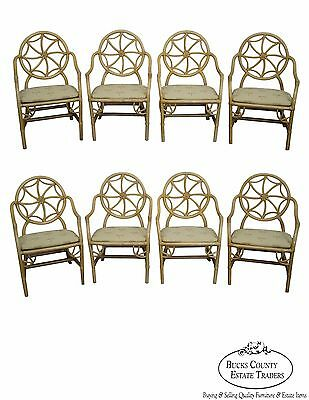 Quality Set of 8 McGuire Style Rattan Spider Back Dining Chairs