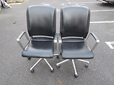 InterstuhI Black Leather Office chairs x 2