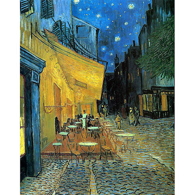 Framed Canvas Print Cafe Terrace Van Gogh Painting Reproduction Art Home Decor
