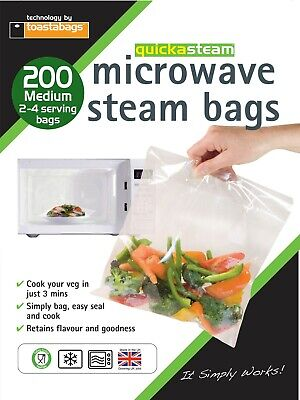 Quickasteam - Microwave Steam Bags - Med - Super Value Pack - 200 Bags