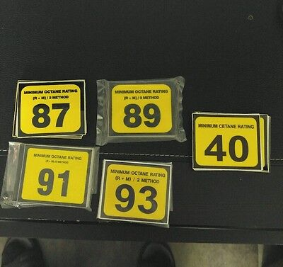 NEW GILBARCO MARCONI 87,89,91,93 and 40 cetane  MINIMUM OCTANE RATING  DECALS