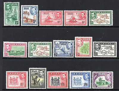 Fiji (955) 1938 values and Die's to 5/- lightly mounted Sg249-266 out of